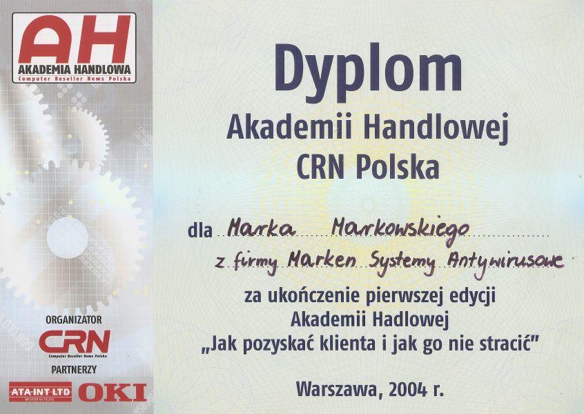 2004 Dyplom Akademii Handlowej CRN Polska