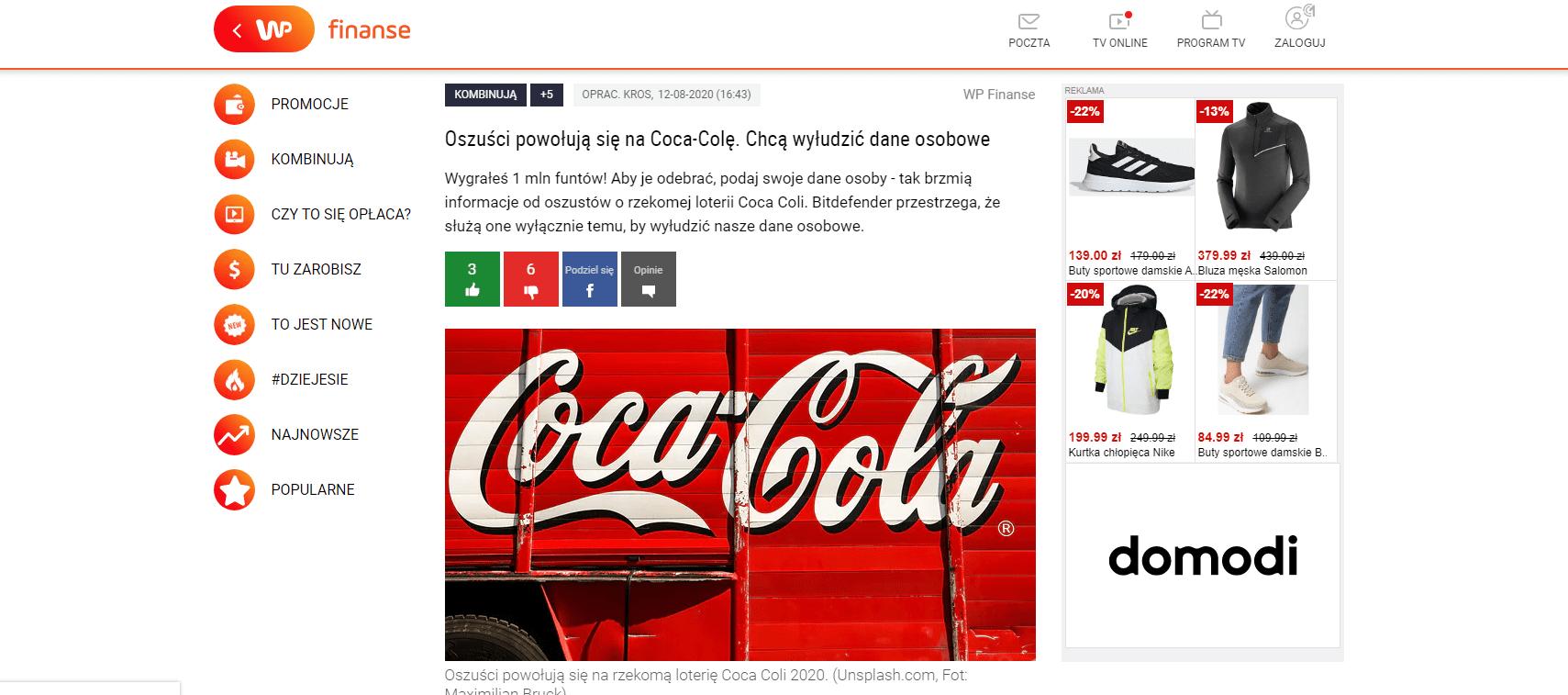 Oszuści powołują się na Coca-Colę.